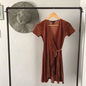 Velvet Burnt Orange Tie-Up Dress